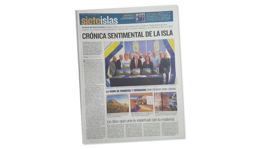 """Reseña en prensa de la presentación de un libro fotográfico de promoción turística  """"Sentimientos de Gran Canaria"""""""