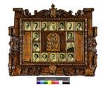 Reproducción de una orla tallada en madera de los estudios de filosofía y letras de la Universidad de Santiago de Compostela