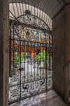 Vista del interior de un patio canario cubierto de plantas yque muestra puerta forjada,balcones en madera y tallero como elementos típicos de la arquitectura canaria de una casa señorial del histórico barrio de Vegueta